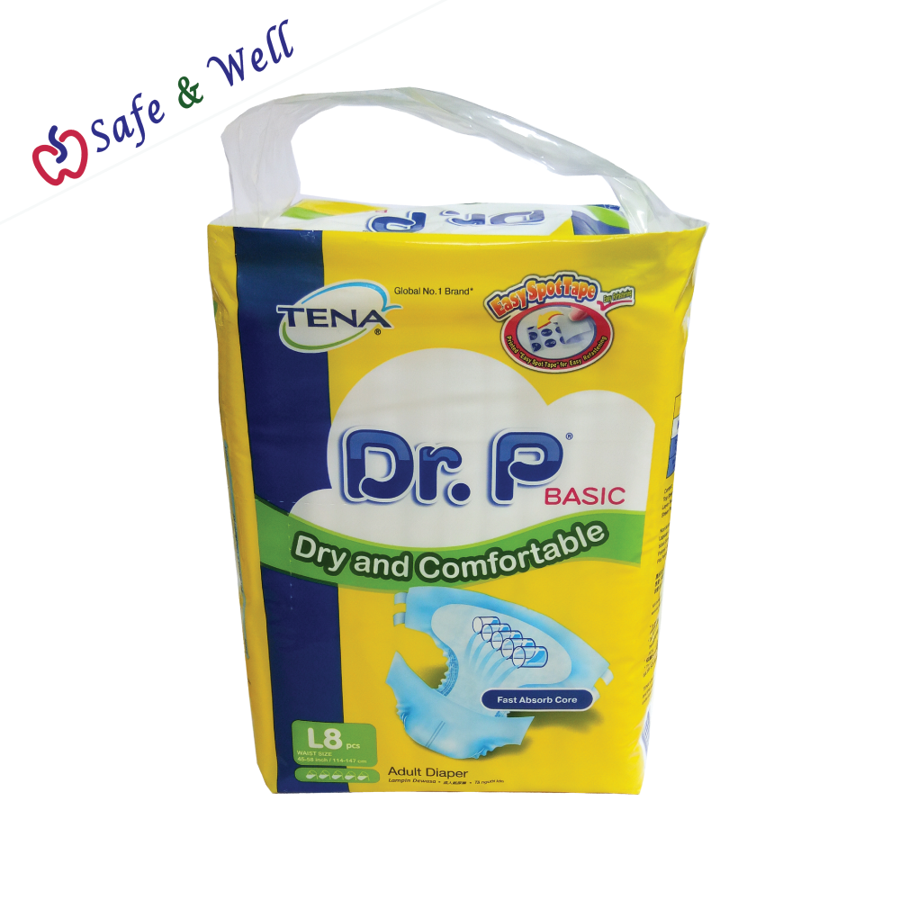 DR.P BASIC ADULT DIAPERS L 8PCS (1 CARTON 12PACKETS)
